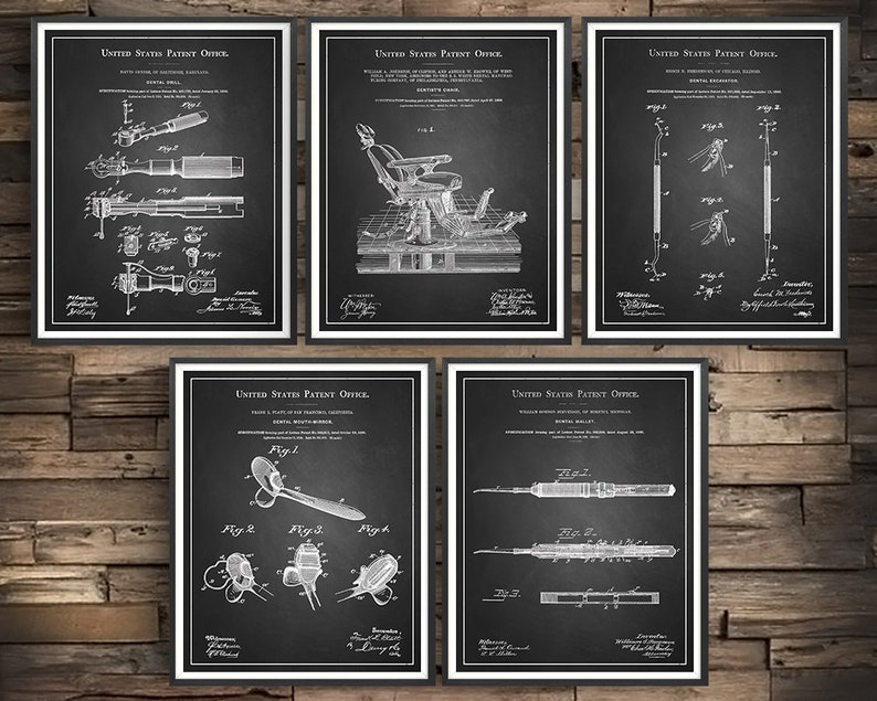 Dental Art Dentistry Dentist Patent Prints Set of 5 Unframed Wall Art Dentist Gift Dental Hygienist Dentist Office Decor