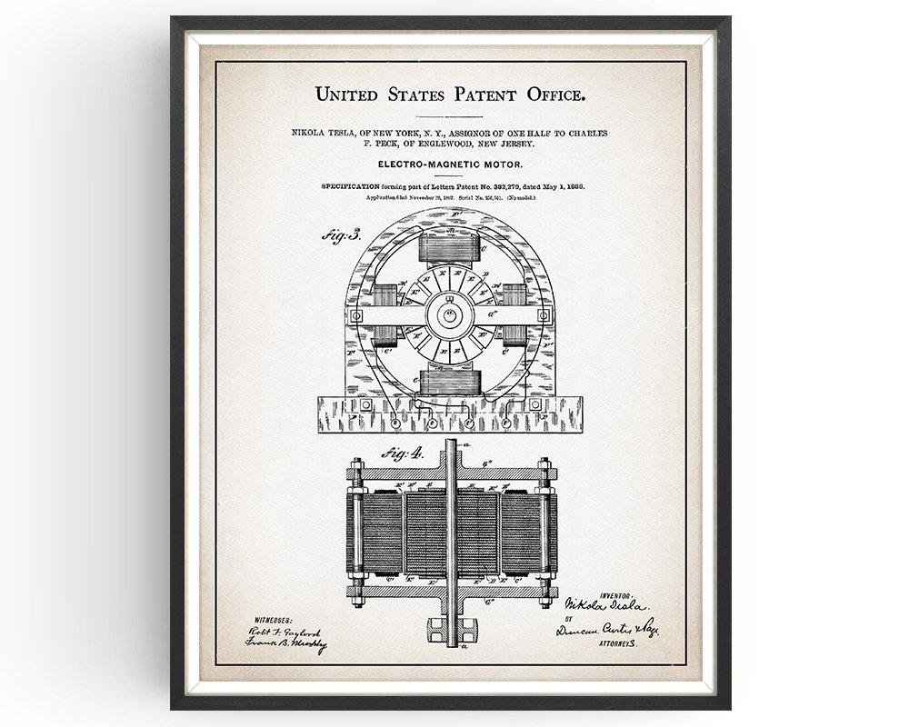 Tesla Motor Patent Print - Nikola Tesla - Tesla Decor - Tesla Motors -  Tesla Invention - Engineer Gift - Science Gift - Unframed