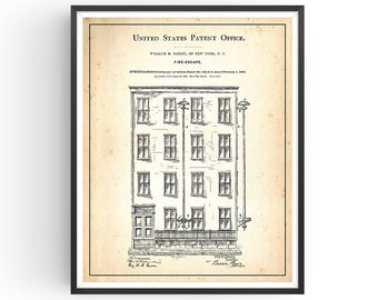 Fire Escape - 1886 - Patent Print - Firefighter Gift - Fireman Print - Fire Escape Artwork - Fireman Pole escape - Fire Station - Unframed