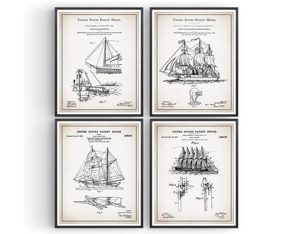 Sailing Set Of 6 Patent Prints Unframed Nautical Decor Boat Poster Wall Art