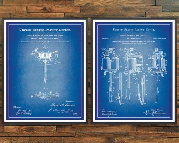 "USA Patent vintage TATTOO MACHINE PEN Edison Mounted Matted PRINT 10/"" x 8/"" 1877"