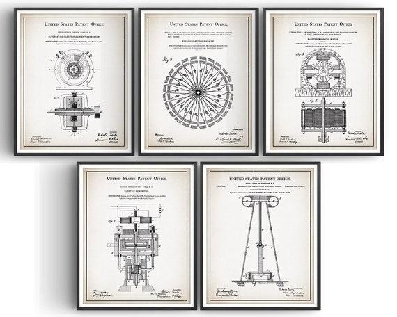 Unframed Engineer Poster Wall Art Decor Gift Set Of 4 Tesla Patent Prints