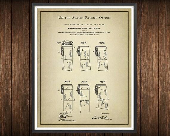 Carta igienica rotolo brevetto stampa bagno arte etsy