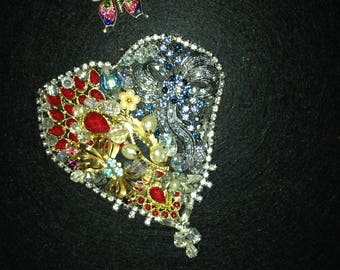 Ready to ship, Heart Collage With Vintage Jewelry, shadow box frame,  Gift for Her