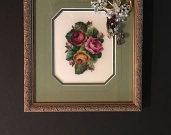 Ready to ship, Decorated Framed Needlework Art Collage with Vintage Jewelry, Gift giving