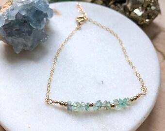 Gemstone Bracelet / Green Fluorite Bracelet / 14k Gold Filled