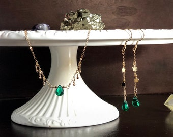 Emerald May Birthday Jewelry Gift Set // Discounted // Emerald Necklace & Earring Set // 14k Gold Filled