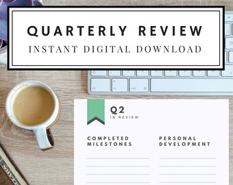 Quarterly Review personal progress review goal setting digital download printable