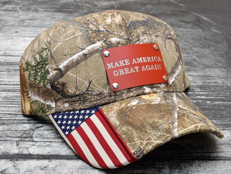 cd3551c0fd25d1 Make America Great Again Metal Plate Camo Flag Hat | Etsy