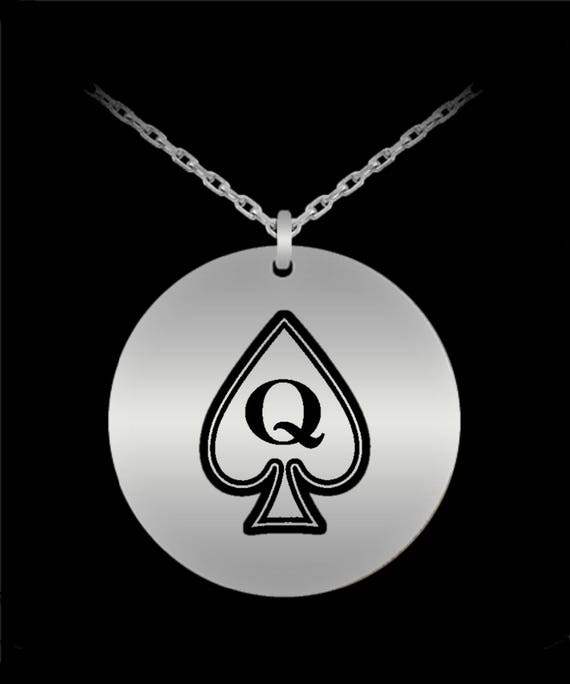 Mature white with queen of spades necklace