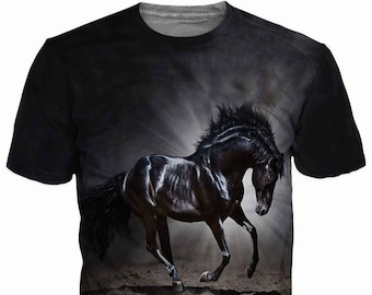 6be25e3d54765 3d Shirts For Men, Horse Print Funny T-Shirt Top, Graphic Slim Fit Tee Shirt,  Gift For Him, Casual Short Sleeve T-Shirt