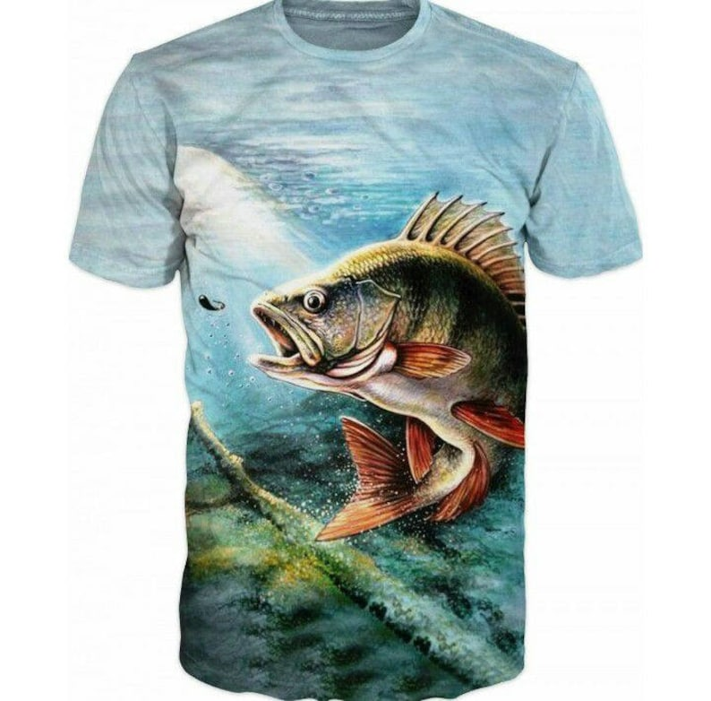 ede30c7e 3d Shirts For Men, Fishing Perch Fish Print Funny T-Shirt Top, Graphic Slim  Fit Tee Shirt, Gift For Him, Casual Short Sleeve T-Shirt