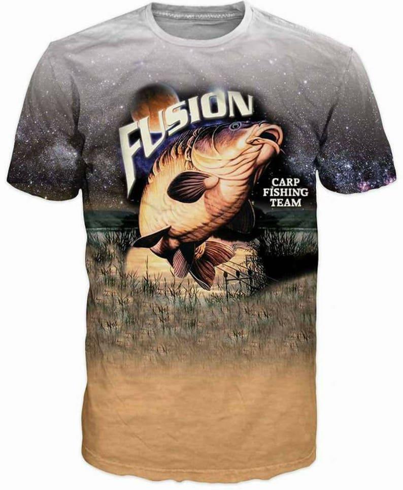 39b80309 3d Shirts For Men Fishing Carp Fish Print Funny T-Shirt Top   Etsy