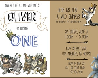 """Where the Wild Things Are """"Wild Rumpus"""" Themed party invitation and Thank You Card"""