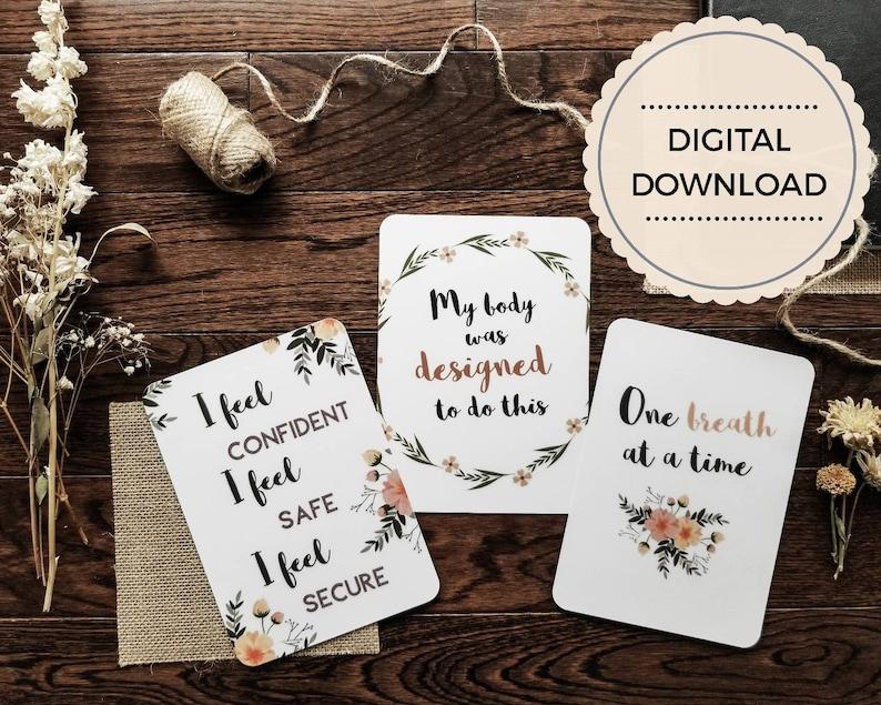 Birth Affirmation Cards  Printable affirmation cards  Set of image 0