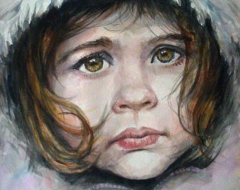 Custom portrait of a child with a photo. Watercolor 15,35 x 10,24 in