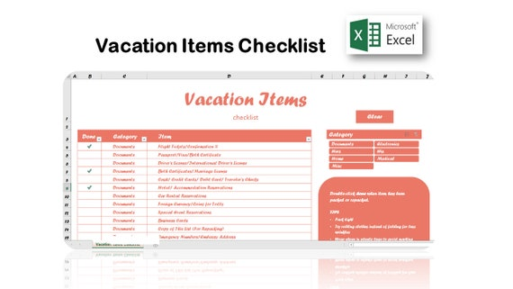 vacation items checklist packing list excel template etsy