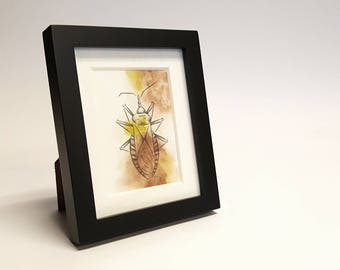 Adorably Vicious - Kissing Bugs, Insect, Disease, Framed Painting, Pen & Ink, Illustration, Watercolor, Artwork, UNIQUE GIFT