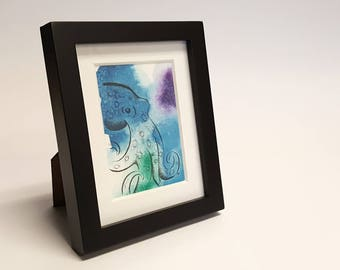Adorably Vicious - Blue Ringed Octopus, Octopus, Framed Painting, Pen & Ink, Illustration, Watercolor, Artwork, UNIQUE GIFT, Macabre Present