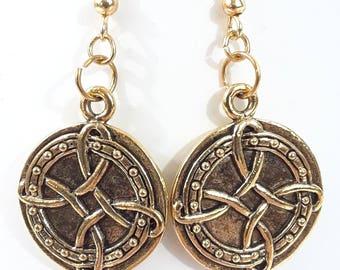 Celtic Good Luck Gold Earrings