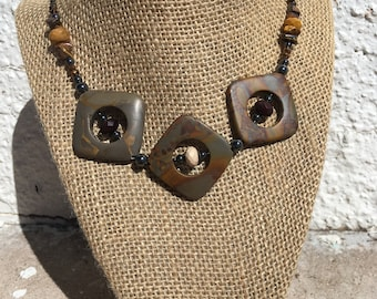 Square shaped Jasper necklace with mookaite, tigers eye and hematite.