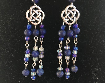 Celtic knot earrings with lapis lazuli and blue and white seed beads.