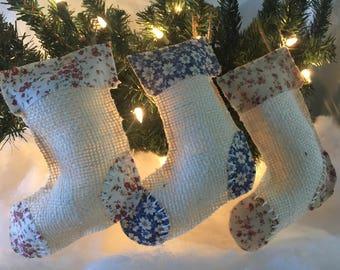 Burlap Christmas Tree Stocking Ornament