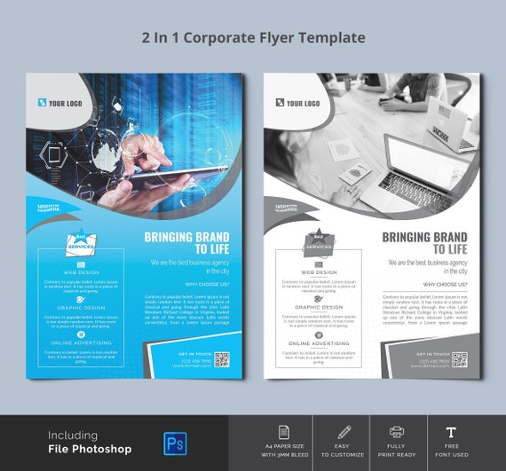 Business Flyer Template   A4 Corporate Flyer Template   Photoshop Template,  Instant Download 100% Editable and Instant Printable