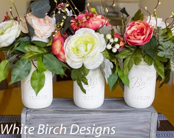 Mason Jar Centerpiece, Kitchen Jar Set, Rustic Jar Decor, Farmhouse Table Decor, Coffee Table Centerpiece, Rustic Decor, Mason Jar Decor