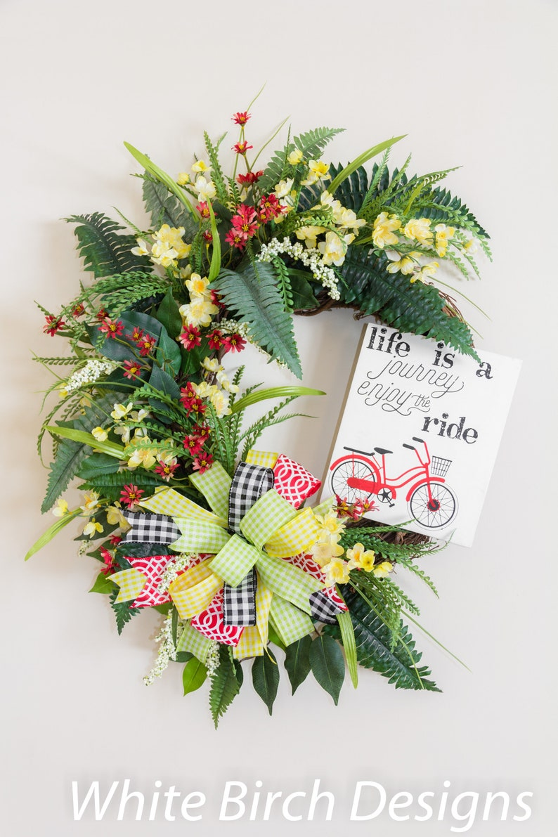 Wreath For Front Door Summer Door Wreath Floral Wreath With Etsy