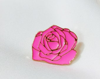 Pink flower pin etsy rose pin pink flower pin hard enamel pinlabel pinmetal pin mightylinksfo