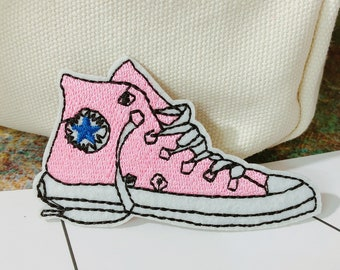 6f59819fe70972 Sneaker patch Shoes patch Pink  Embroidered  Iron on   Sew on   Applique   For jacket   For backpack