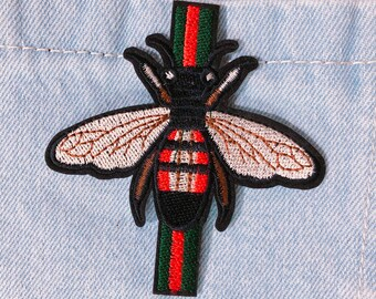 fced4653b Bee patch/Ribbon patch/Green and Red /Embroidered/ Iron on / Sew on /  Applique/ For jacket / For backpack/