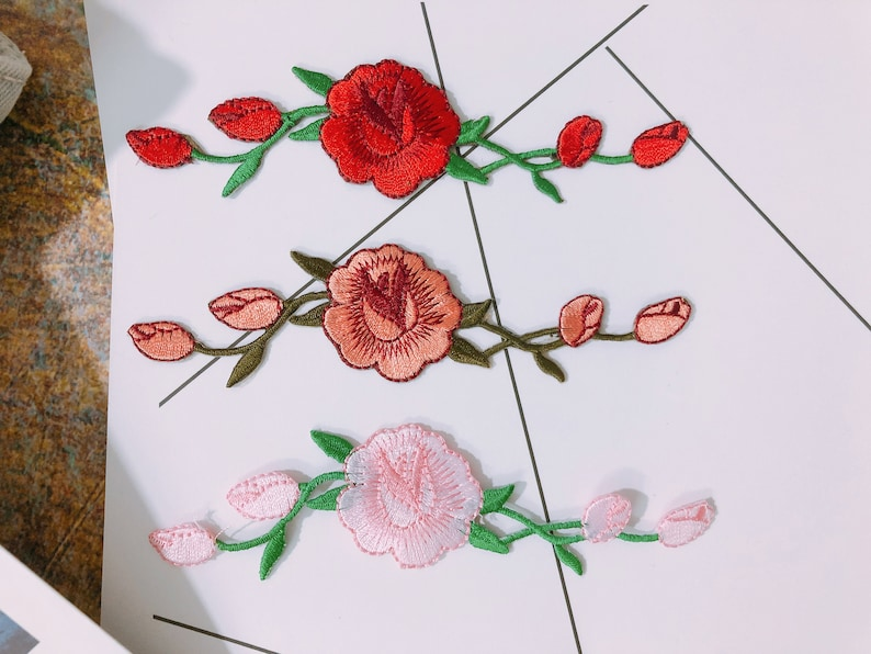 Rose patchPatch for VansFlower patchPatch for Sneaker Embroidered Iron on Sew on Applique For jacket For backpack