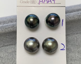 8-9mm AAA Luster High Luster Dark Tahitian Cultured Pearl,PeacockBlue tone,Nice frontBlemished back,good for stud setting,Sold by pair