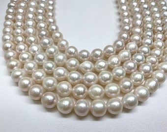 Edison pearl,8/9-11 mm AAA UltraLuster Semi-Baroque/Oval,White Edison Freshwater Cultured pearl,Price for 1 Strand,15.75Inches,Lot210640L-6