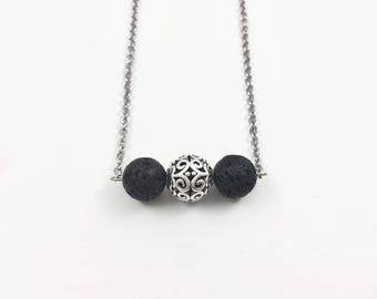 Lava Stone Bar Diffuser Necklace, Essential Oil Diffuser Necklace, Silver Ball Aromatherapy Necklace, Dainty Oil Bead Diffusing Necklace