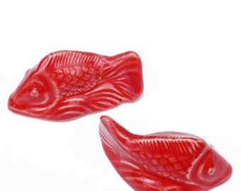 Set of 2 Fish Toilet Bolt Covers in Mango Red Glaze