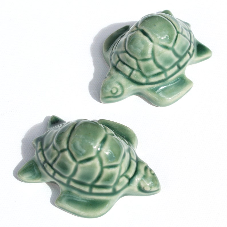 Set Of 2 Sea Turtle Toilet Bolt Covers In Sage Green Glaze Etsy