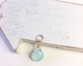 Sky Blue Chalcedony wire wrapped necklace drop, gold fill charm,necklace add on,minimalist jewelry,wire wrapped Drop,gold fill,blue charm