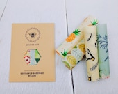 Set of 4 100 Natural Beeswax Food Wraps, Zero Waste, mixed colours, Little Kitchen Gems