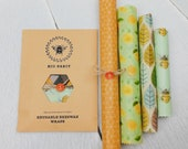 Set of 4 100 Natural Beeswax Food Wraps, Zero Waste, mixed colours