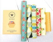 XXL Set OF 6 Sheets 100 Natural Beeswax Food Wraps, mixed sizes and colours