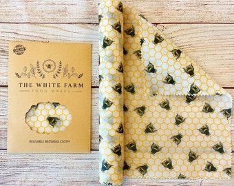 XXLong Wrap Beeswax Food Wrap, DIY Cut To Size, Zero Waste Living, Cream Honey Bees