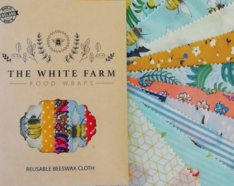 8 x Beeswax Food Wraps, Imperfect Oddies and Faulties Mixed Sizes and Colours, Zero Waste Living