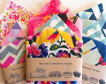 XXL Set Of 4 100% Natural Beeswax Food Wraps , lucky dip fabric, Zero waste, eco