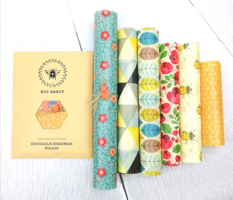 XXL Set OF 6 Sheets 100% Natural Beeswax Food Wraps via EcoHabit