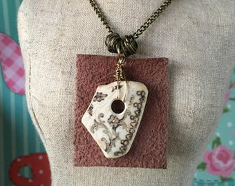 Pembrokeshire Sea Pottery Pendant with Leather Detail