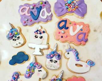 Christmas Unicorn Cookies Etsy