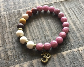 Mala Bracelet, Om or Choose Your Word Wrist Malas - Handmade Mala, Mala Bracelets, Mala Beads, Meditation Jewelry, Wrist Mala